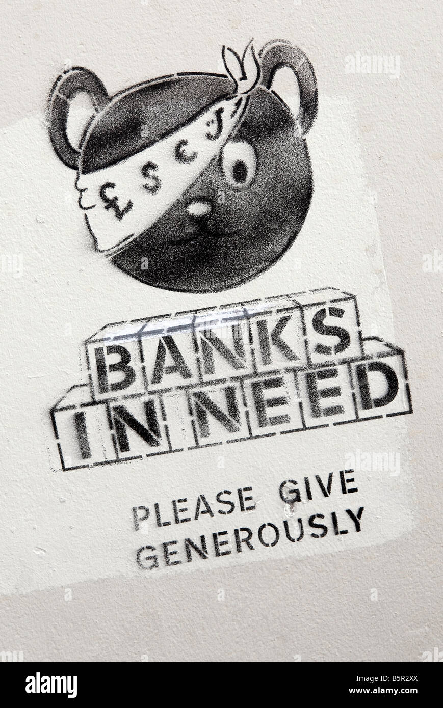 banks in need wall poster - Stock Image