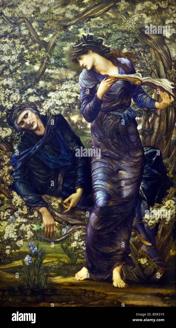 Beguiling of Merlin by Edward Coley Burne-Jones 1872-1877 Lady Lever Gallery Port Sunlight Model Village Wirral - Stock Image