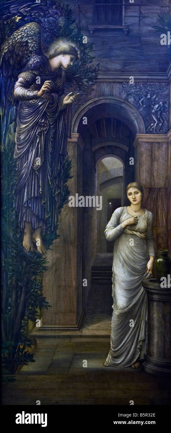 Annunciation 1876 painted by Edward Coley Burne-Jones interior Lady Lever Gallery Port Sunlight Model Village Wirral - Stock Image