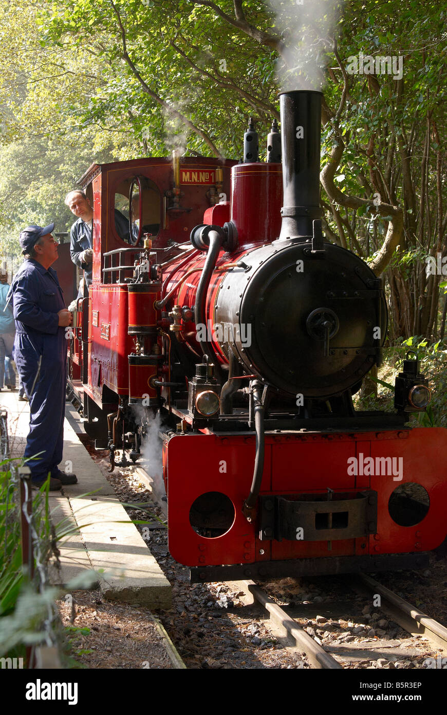 The Old Kiln Light Railway at the Rural Life Centre, Tilford, Surrey with Orenstein & Koppel engine Elouise. - Stock Image
