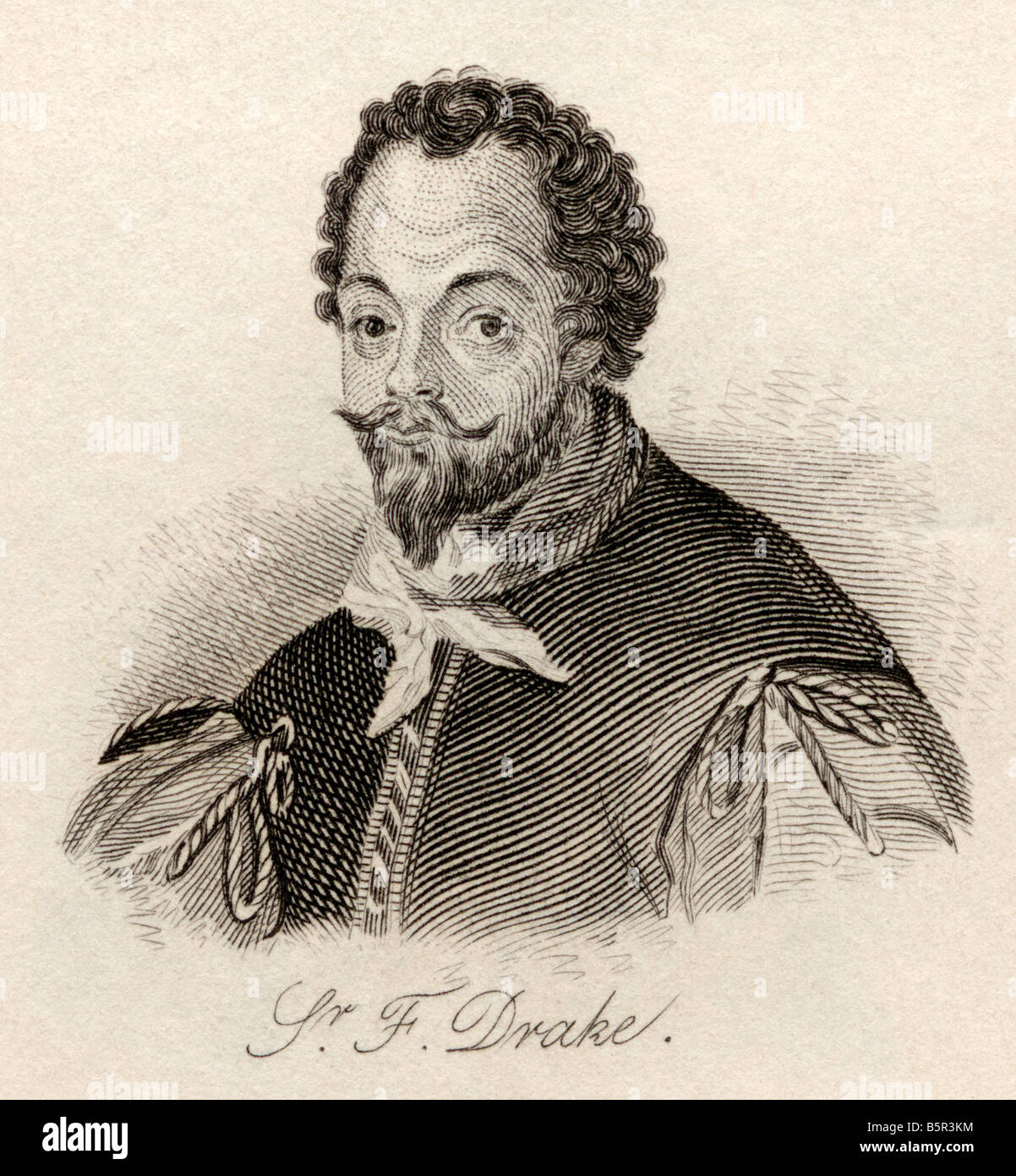Sir Francis Drake c 1540 1543 to 1596 Vice admiral English privateer navigator slaver and politician of the Elizabethan - Stock Image