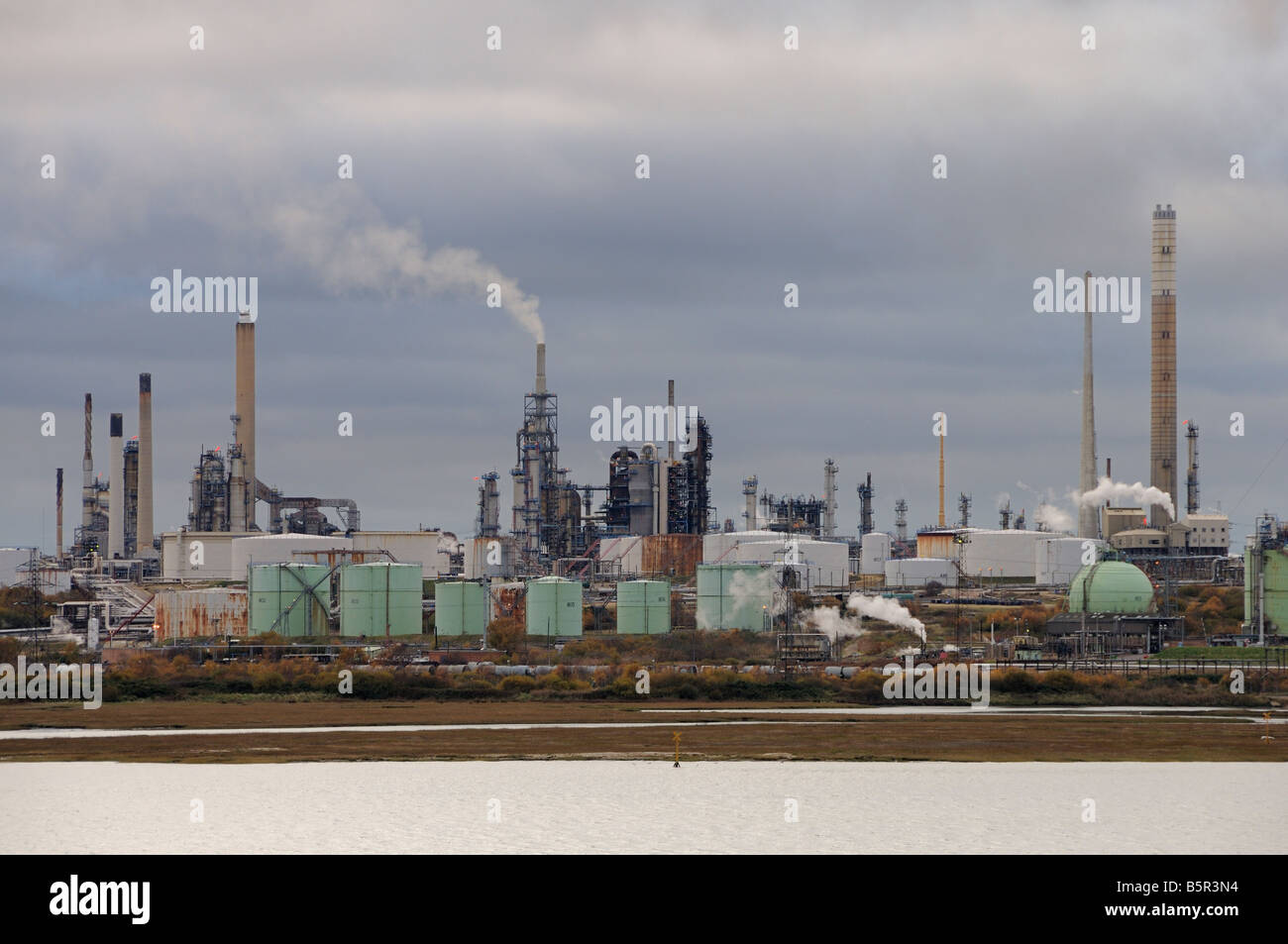 Fawley Oil Refinery from Southampton Water - Stock Image