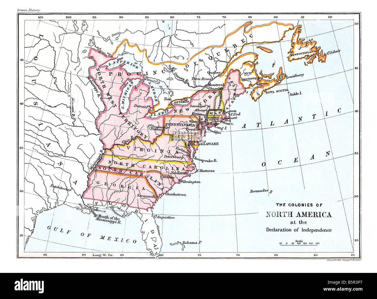 Map of the colonies of North America at the Declaration of Independence - Stock Image