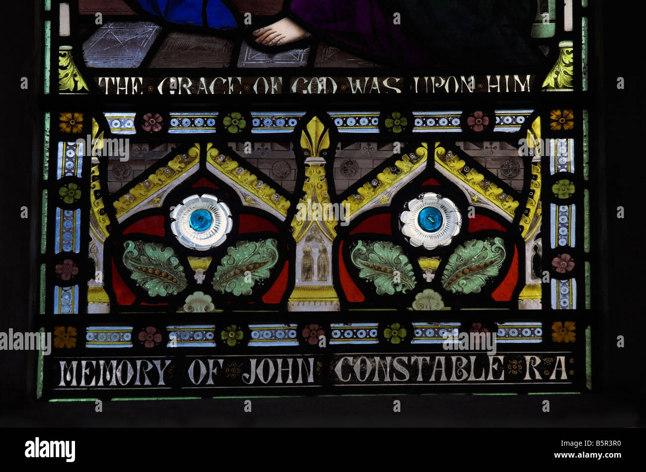 A stained glass window in the church at east Bergholt dedicated to the life of John Constable Stock Photo