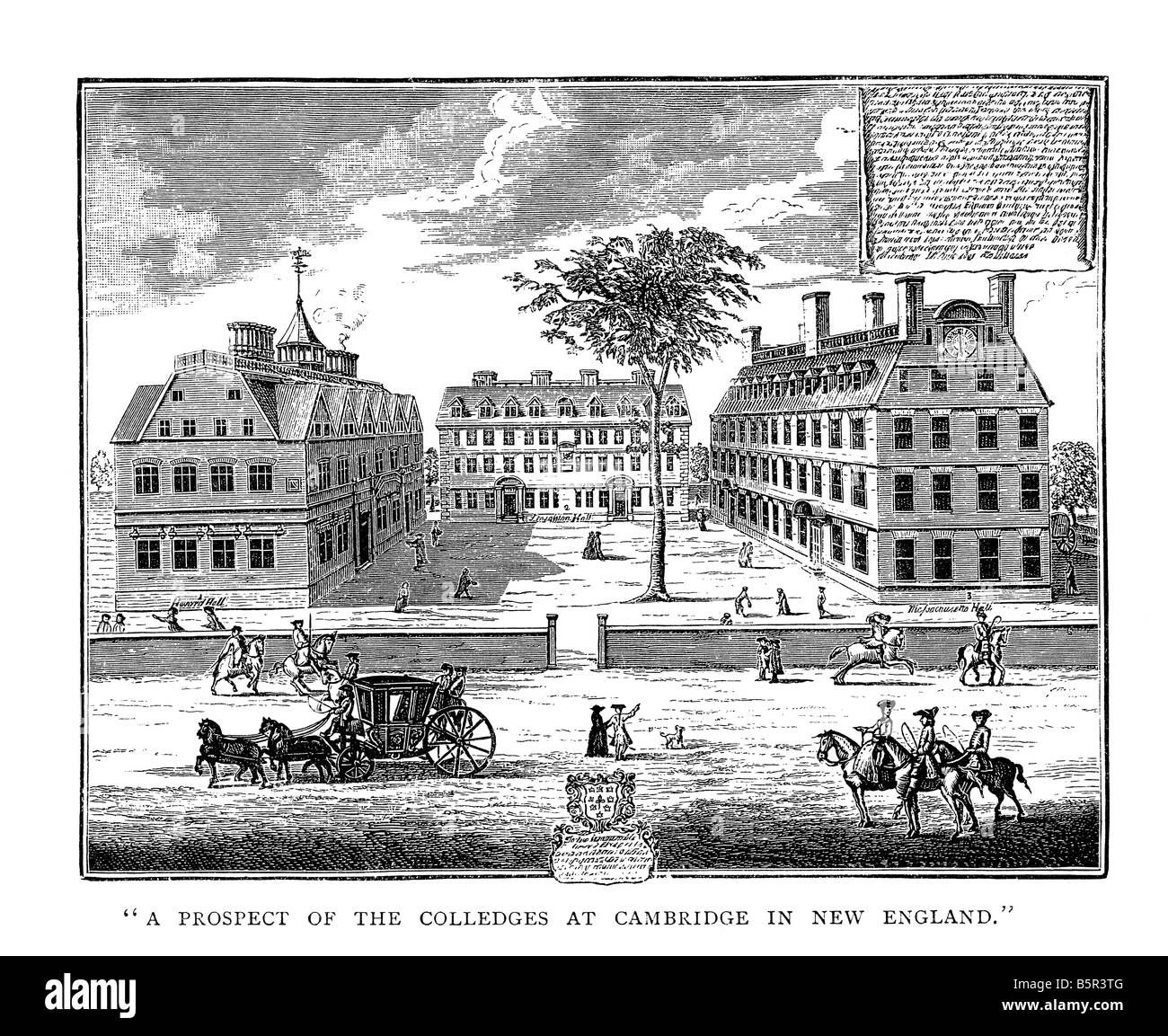 Colleges at Cambridge in New England c.1739 - Stock Image