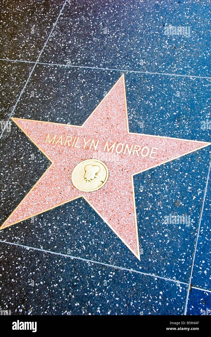 Hollywood Walk of Fame Marilyn Monroe Star Los Angeles CA - Stock Image