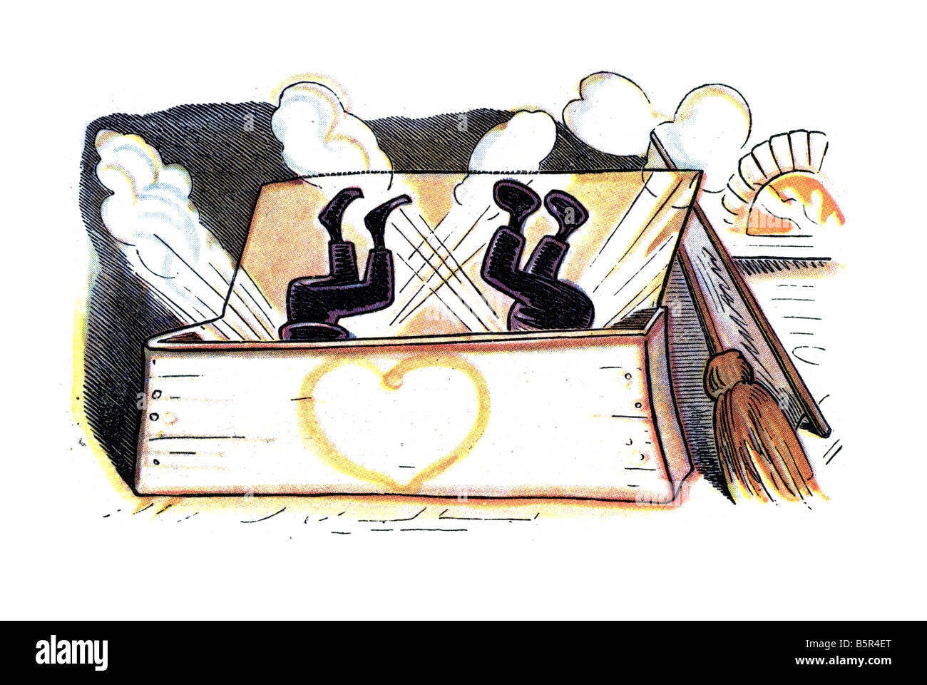 Max & Moritz falling in flour, Max and Moritz A Story of Seven Boyish Pranks Heinrich Christian Wilhelm Busch - Stock Image