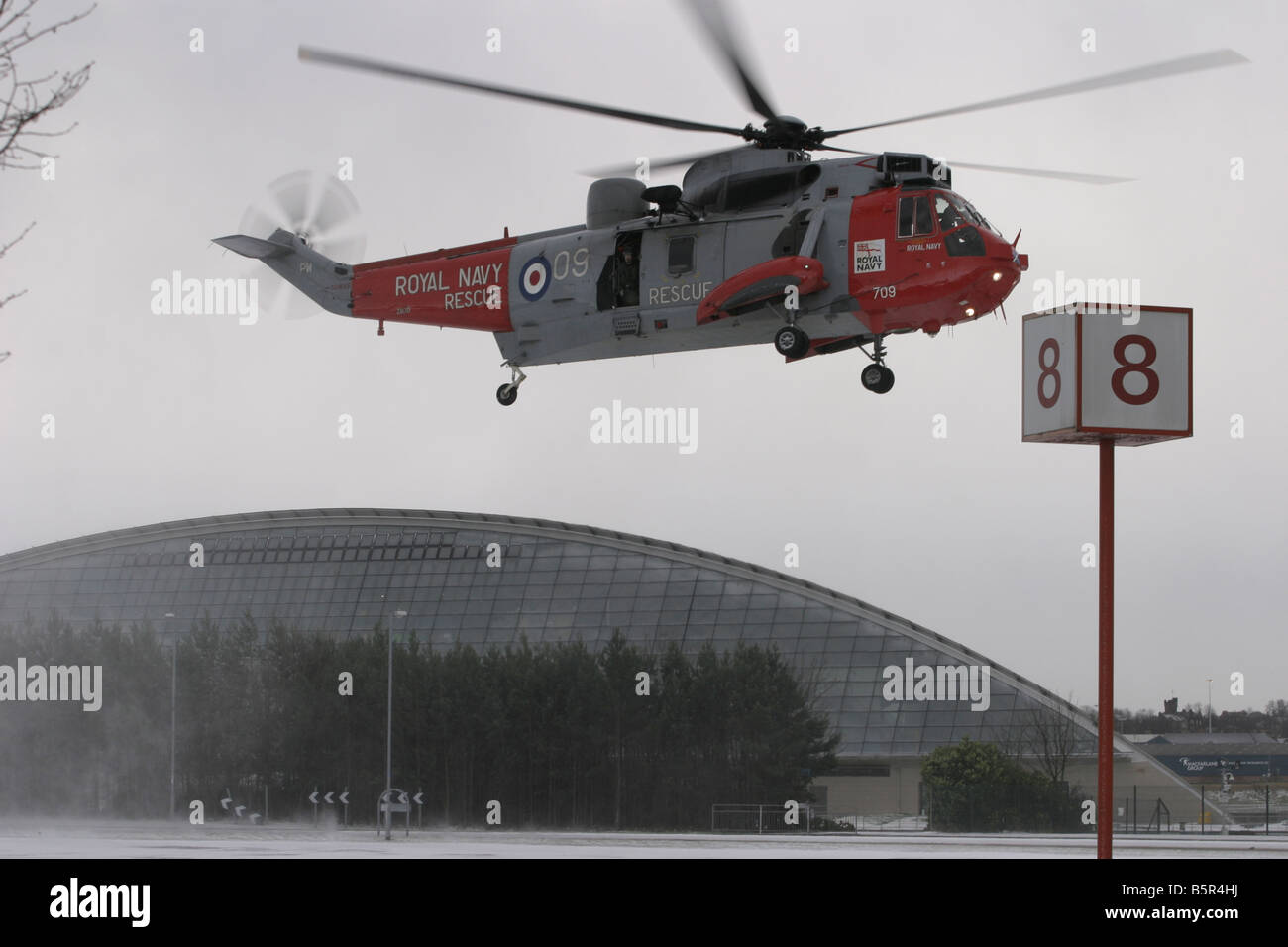 sea king resue at helicopter secc glasgow Stock Photo