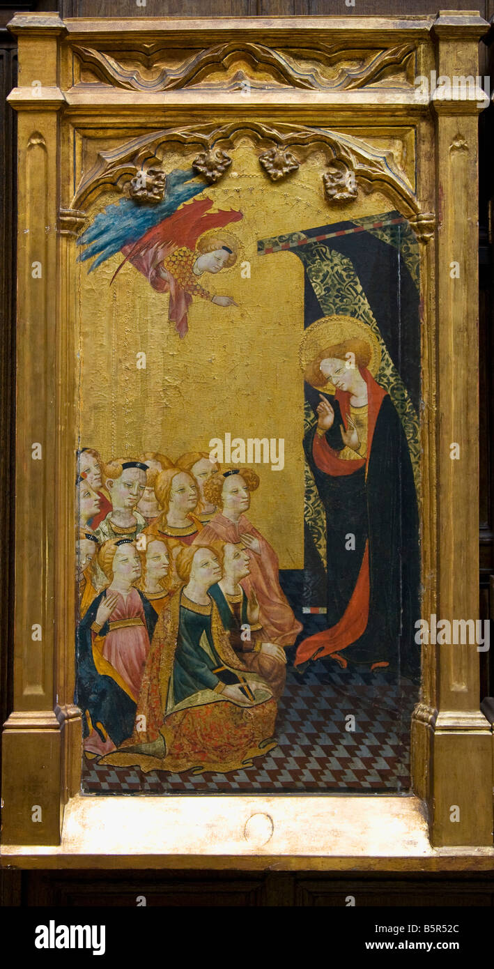 'St Ursula preaches to the Virgins' 'Four scenes from the life of St Ursula' 14th century altarpiece - Stock Image