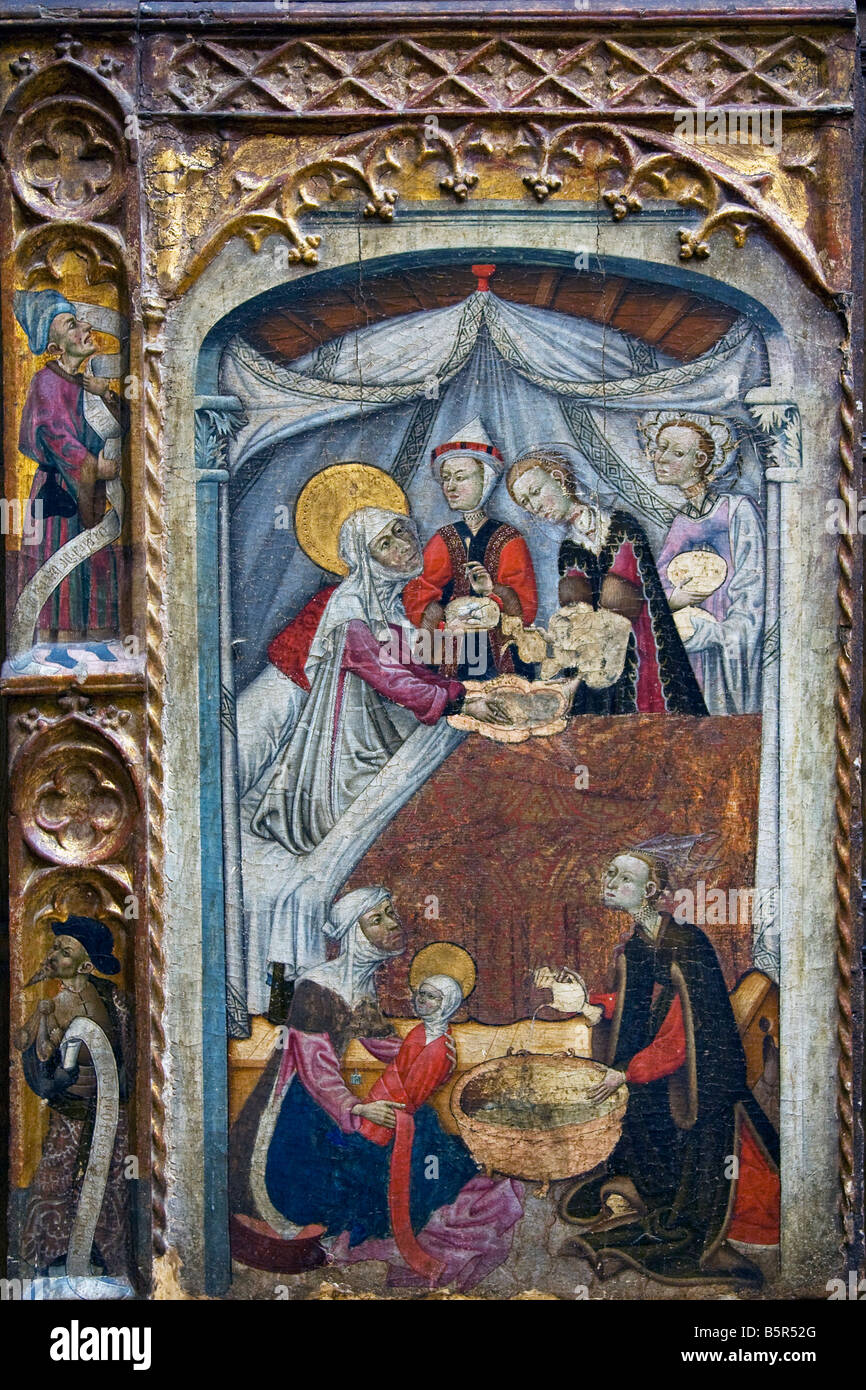 'Birth of the Virgin' circa 1430 15th century Aragonese School in the interior of the Lady Lever Gallery - Stock Image