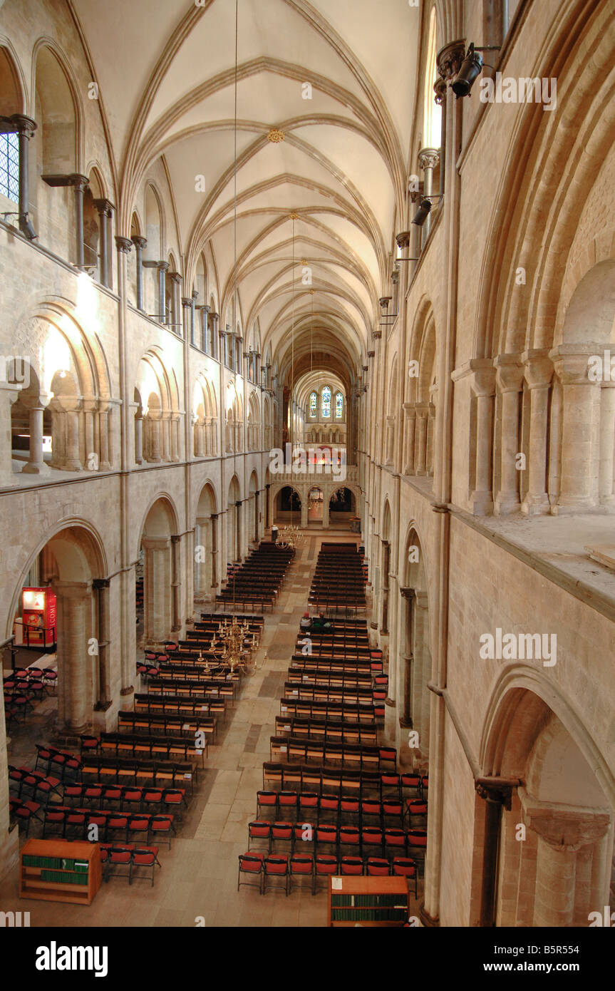 The interior of Chichester Cathedral viewed from above the main entrance (West) towards the Arundel Screen. - Stock Image