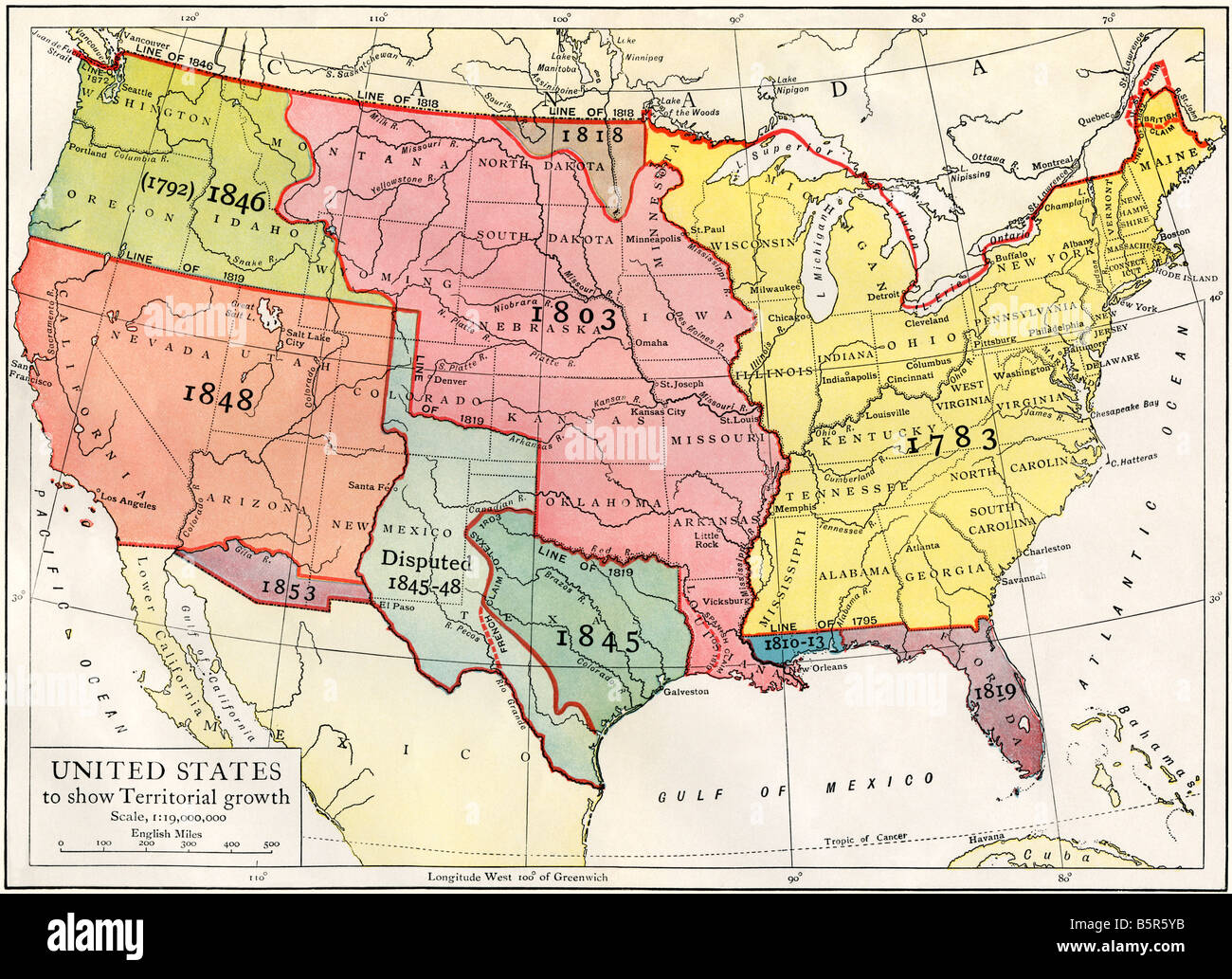 Us Map Of 1853 US map showing territorial growth to 1853. Color lithograph Stock