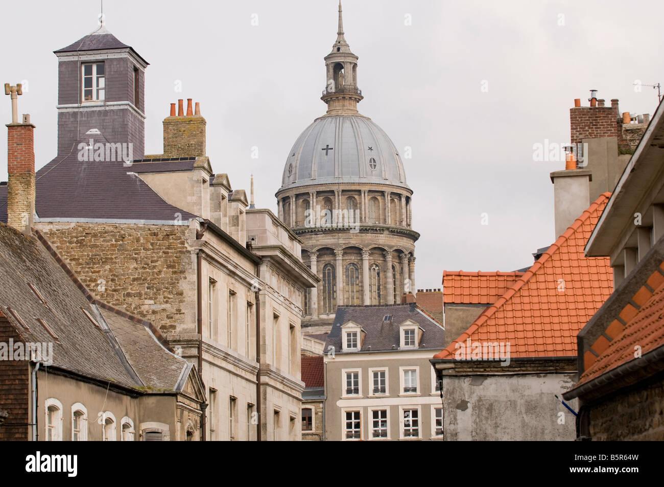 Cathedral of Notre Dame Boulogne sur Mer Pas de Calais and historical city, France - Stock Image