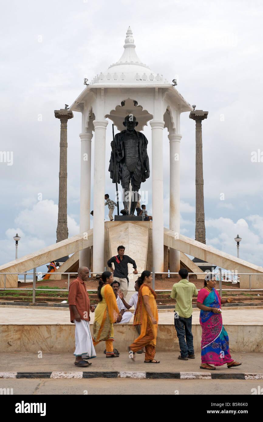 Mahatma Gandhi statue on the Pondicherry waterfront in India. - Stock Image