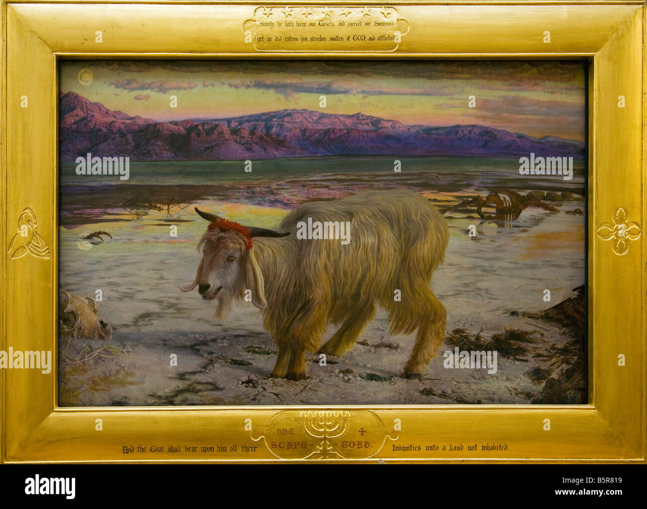 Scapegoat by William Holman Hunt 1854-1855 interior Lady Lever Gallery Port Sunlight Model Village Wirral Peninsula - Stock Image