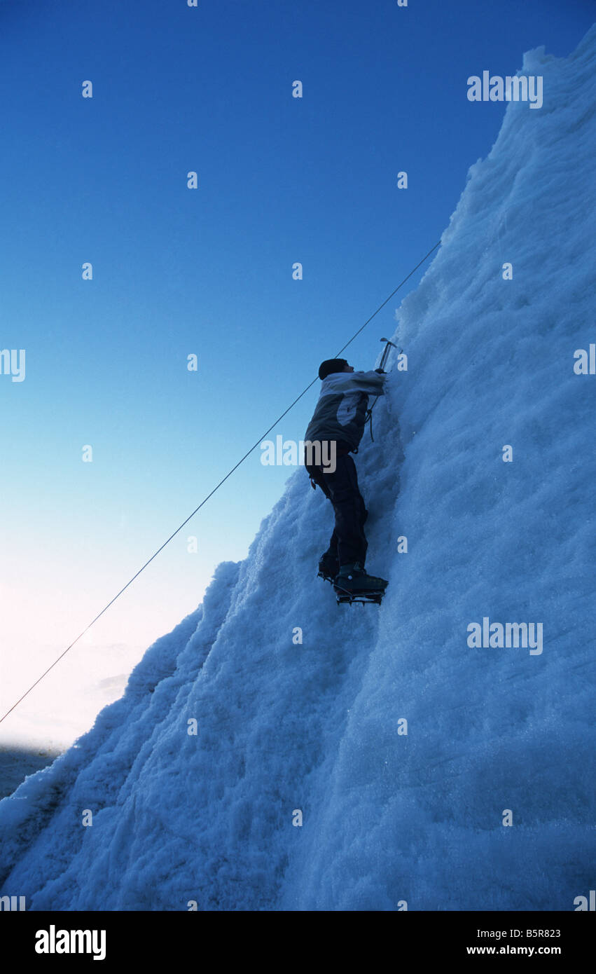 Ice climbing, Mount Huayna Potosi, Cordillera Real, Bolivia Stock Photo