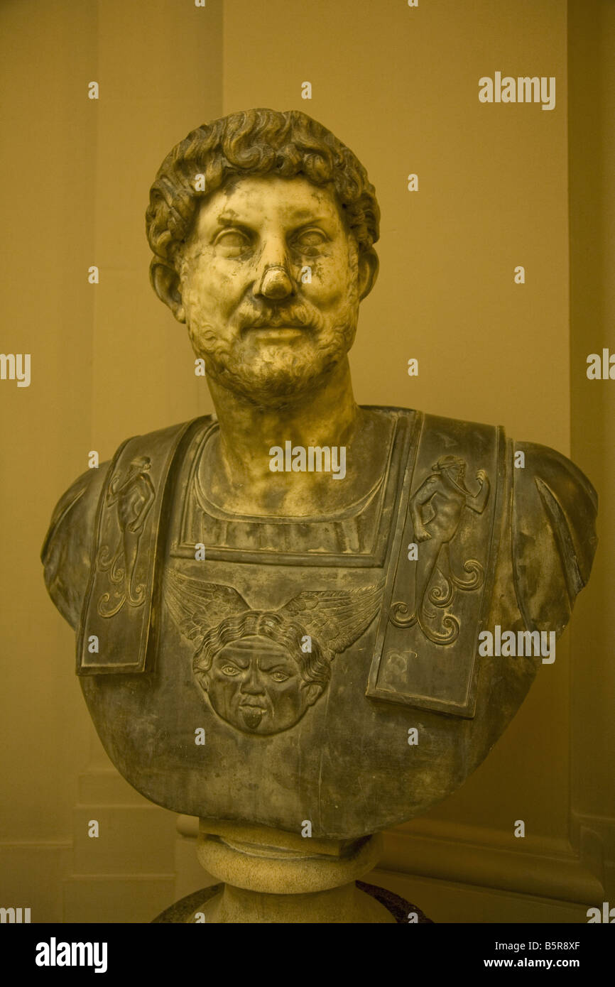 Bust of Emperor Hadrian in the interior of the Lady Lever Gallery in Port Sunlight Model Village Wirral Peninsula - Stock Image