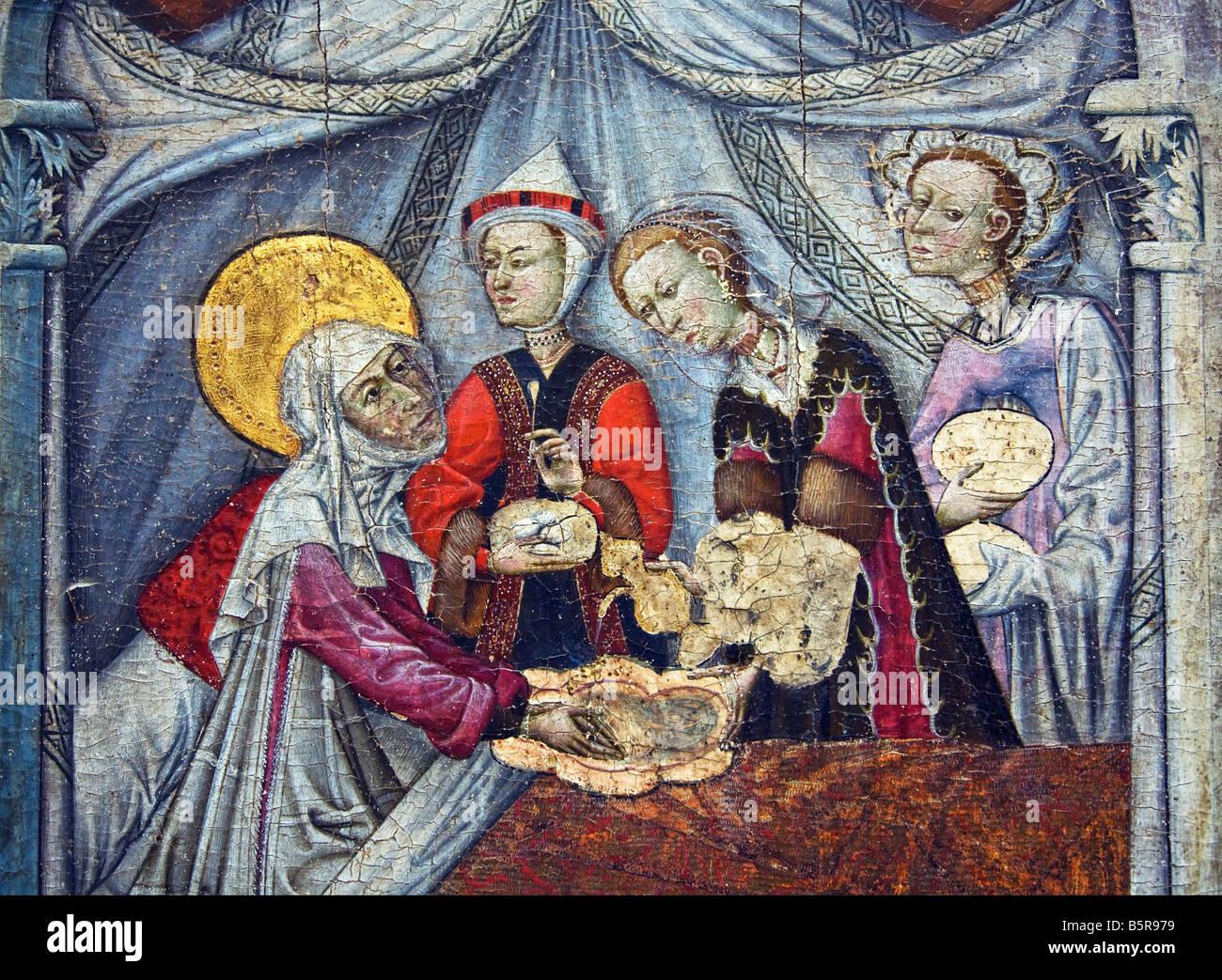 'Birth of the Virgin' circa 1430 15th century Aragonese School  interior Lady Lever Gallery Port Sunlight - Stock Image