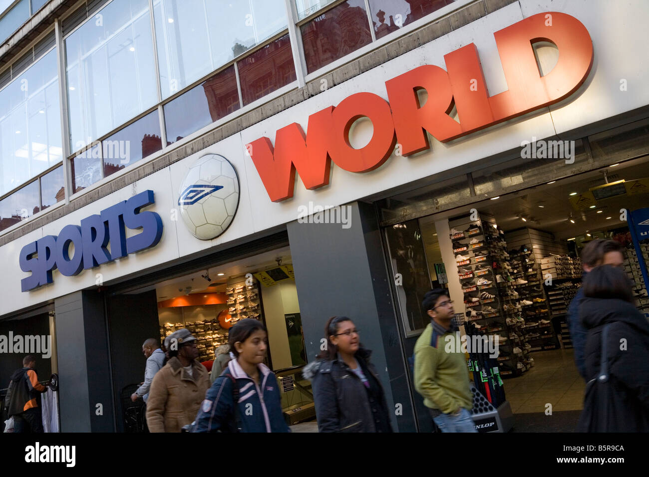 Sports World shop owned by Mike Ashley company Sports Direct International - Stock Image