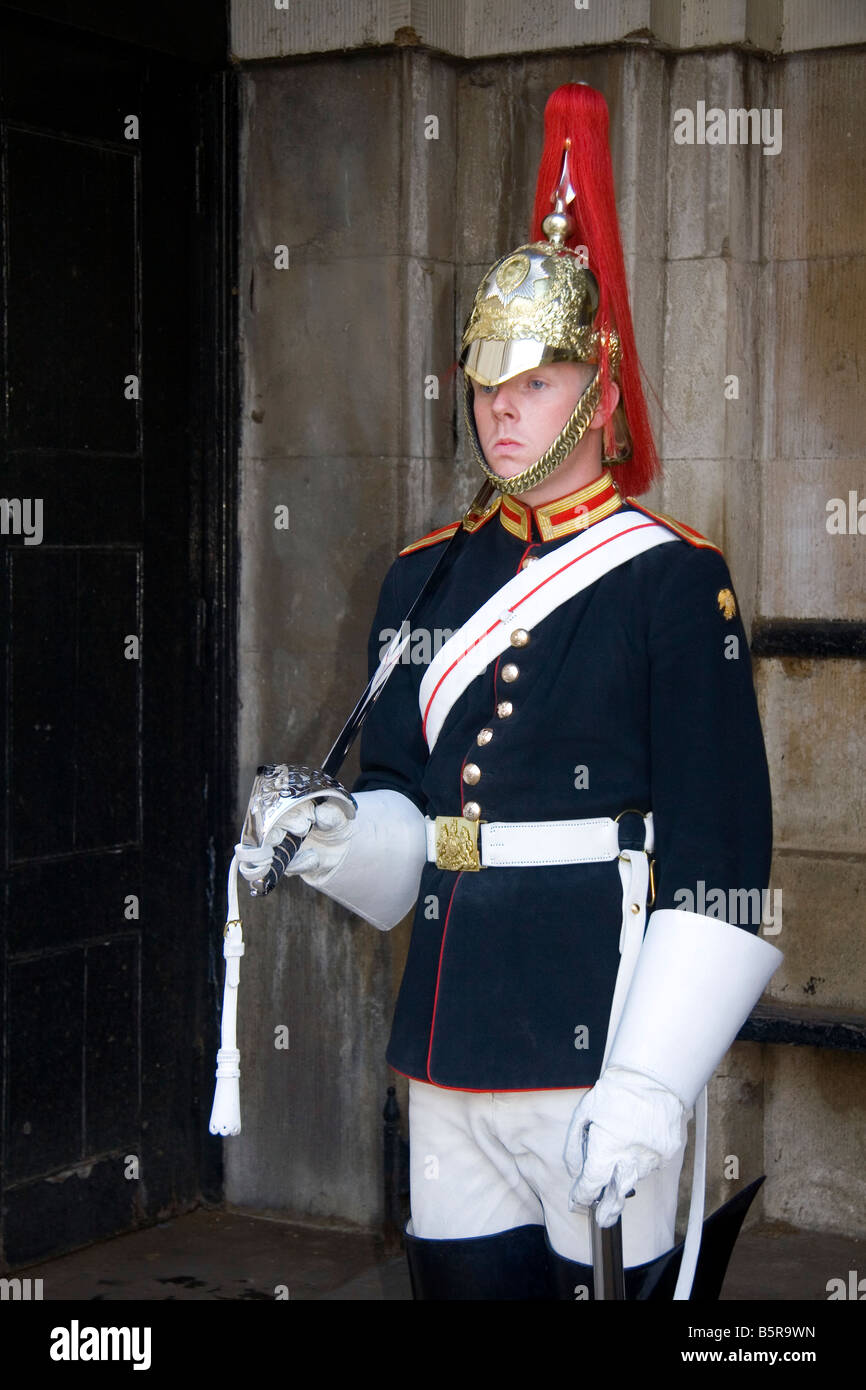 Trooper of the Household Cavalry of the British Army guarding the Horse Guards in London England - Stock Image
