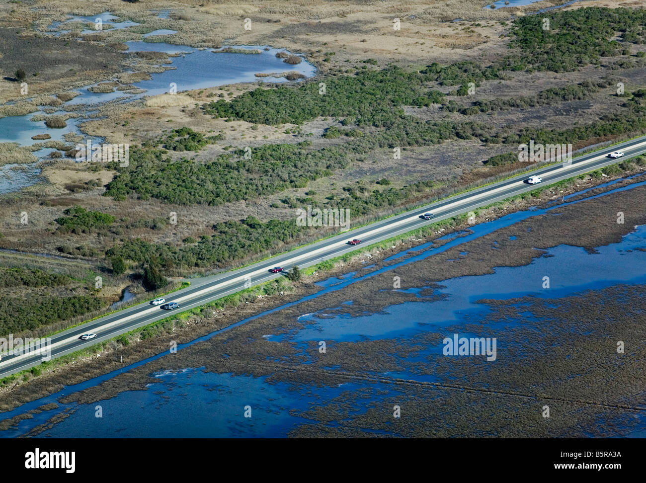 aerial view above truck and cars highway 37 Napa county California - Stock Image