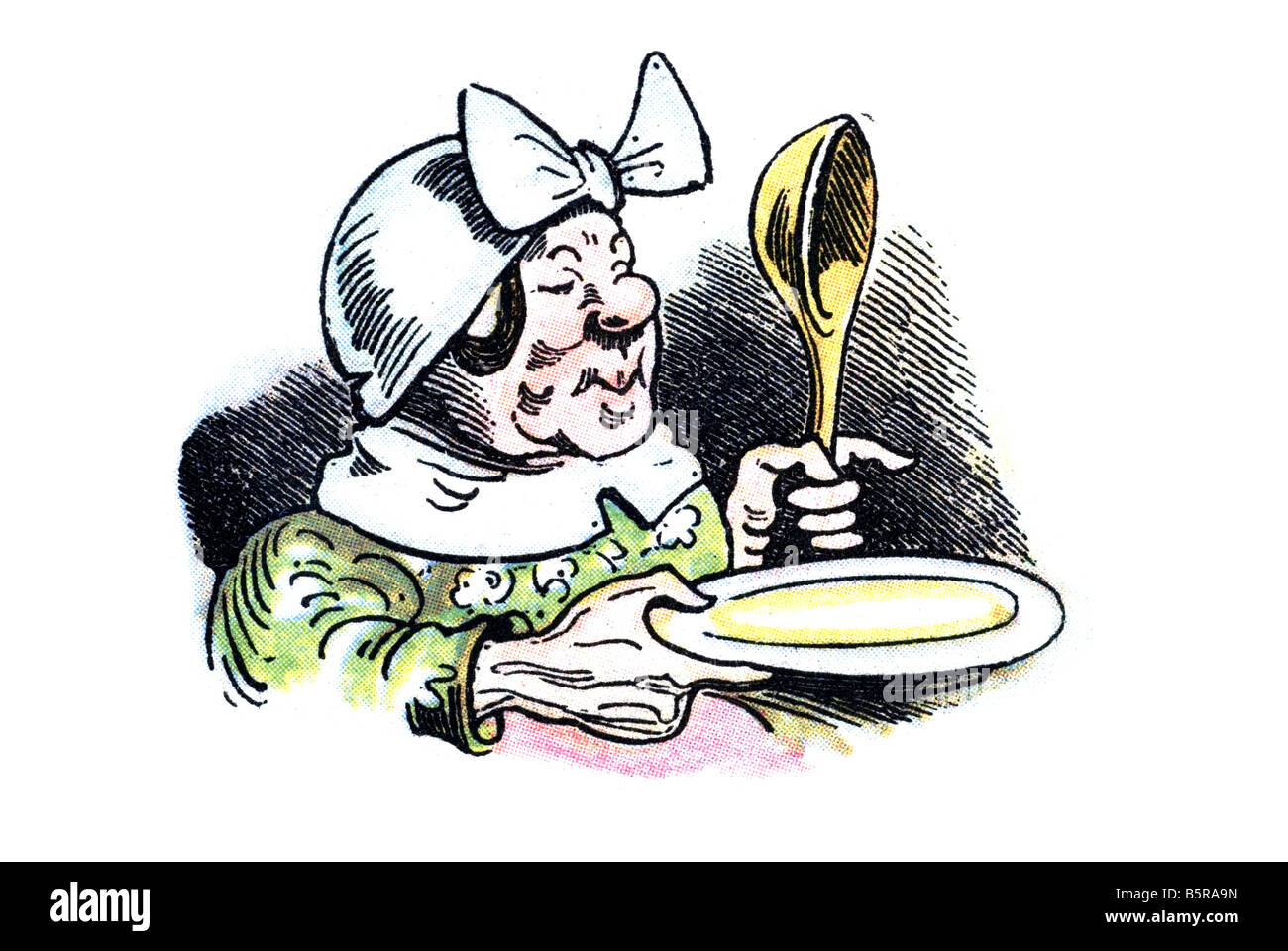 widow Bolte with plate & spoon, Max and Moritz A Story of Seven Boyish Pranks Heinrich Christian Wilhelm Busch - Stock Image
