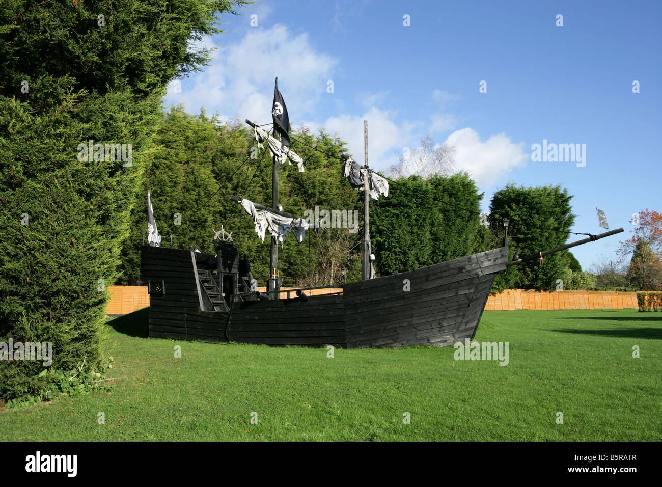 Ordinaire Model Pirate Ship In Garden   Stock Image