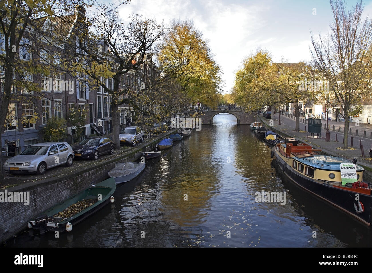 A view of the canal from the bridge at the Prinsengracht in Amsterdam - Stock Image