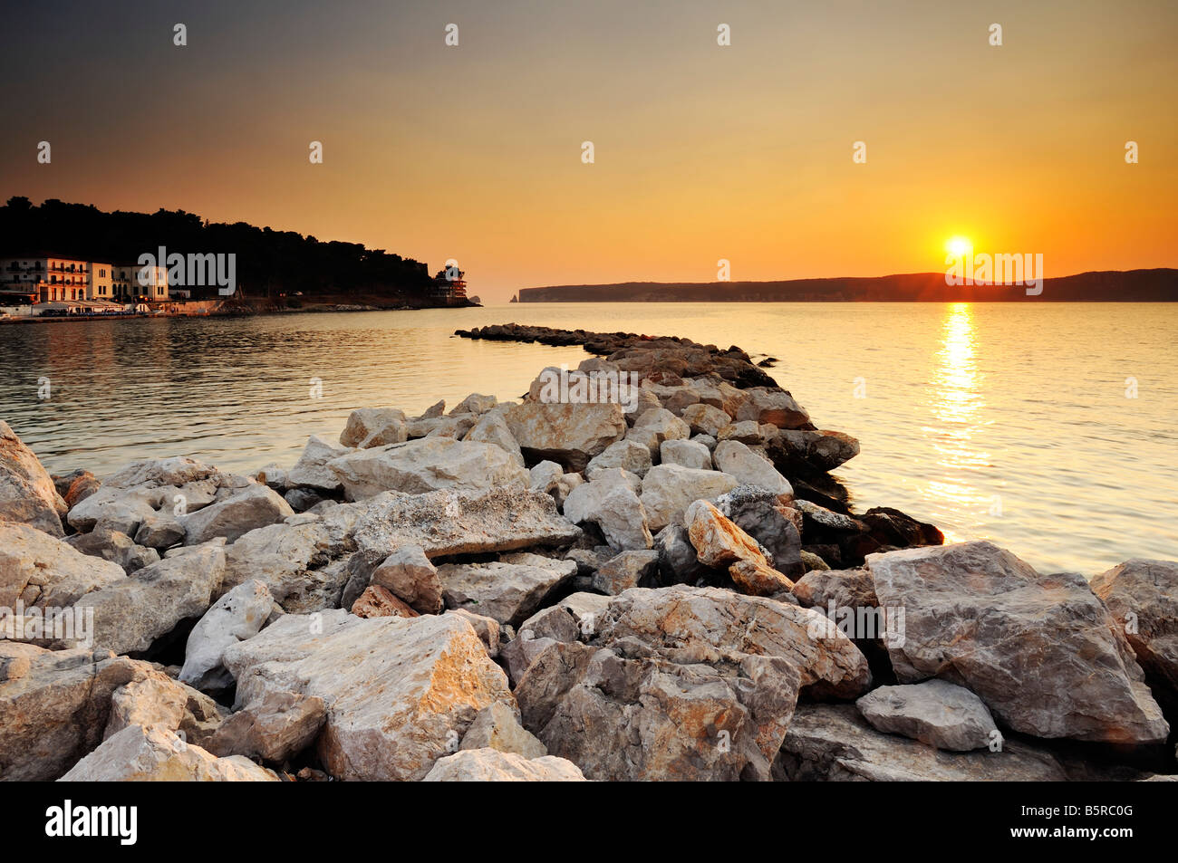 Sunset in Pylos, Greece - Stock Image