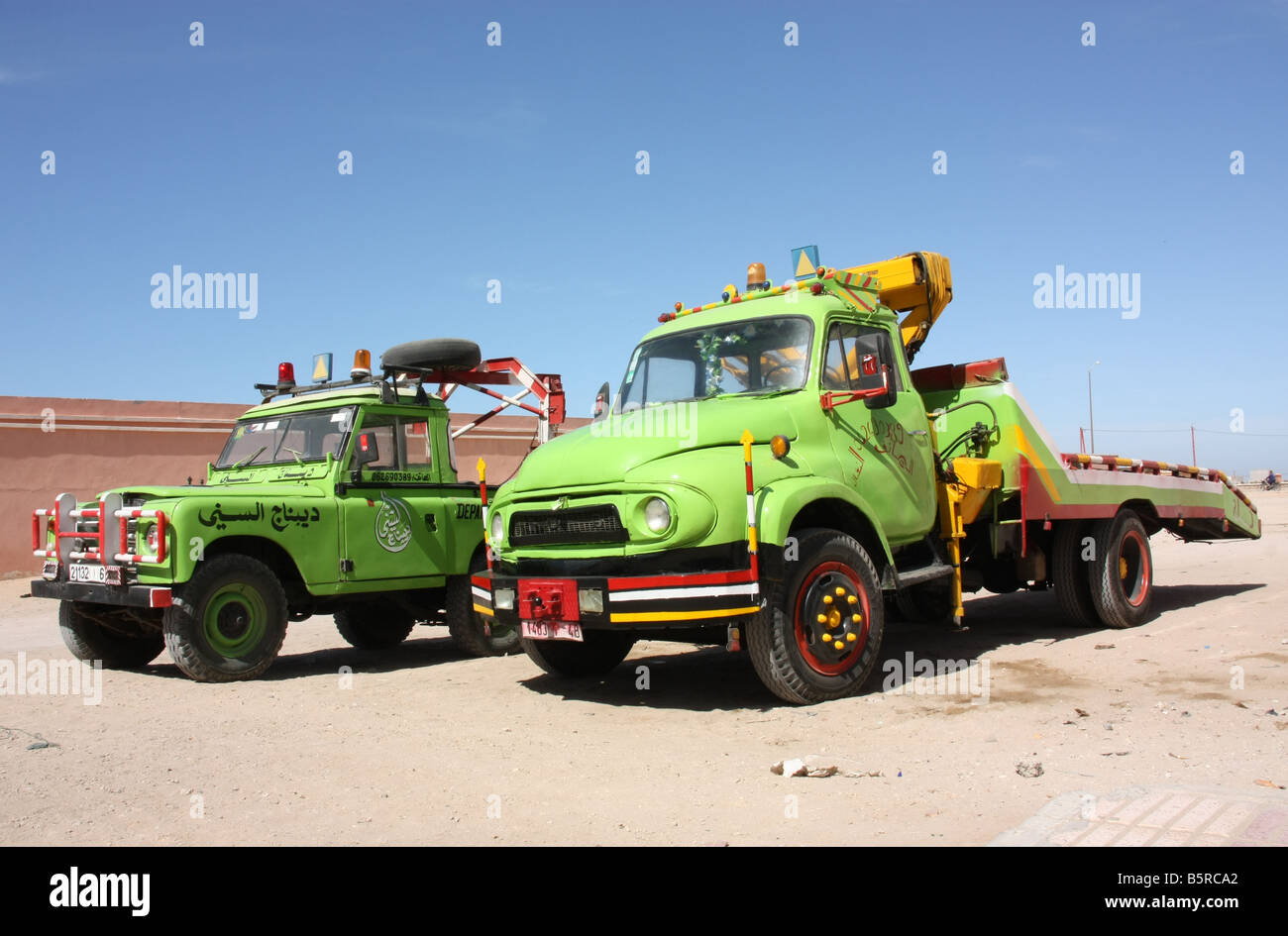 Vintage breakdown trucks in Dakhla Western Sahara - Stock Image