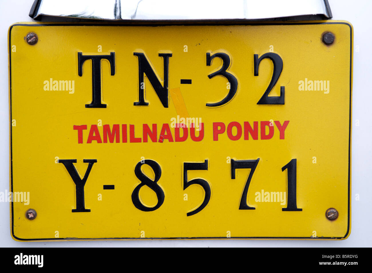 Car registration plate in Pondicherry India. - Stock Image