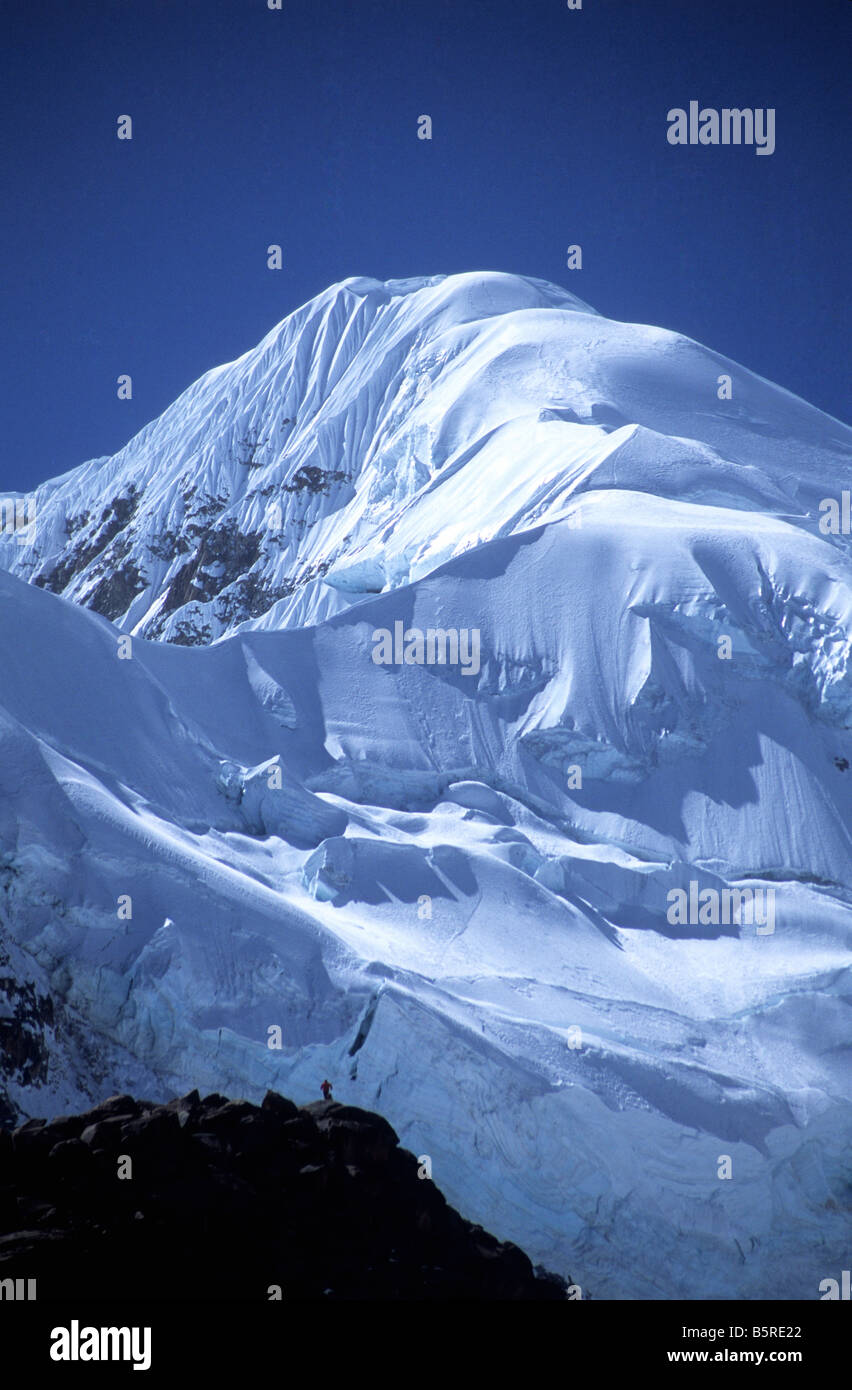 Mt Illampu seen from the southwest, Cordillera Real, Bolivia - Stock Image