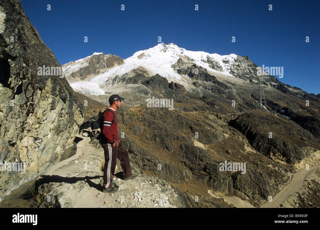 Trekker near Mount Huayna Potosi, Cordillera Real, Bolivia - Stock Image