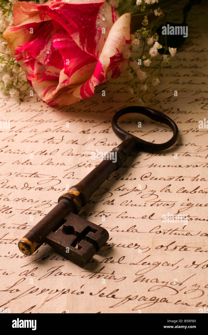 Old letter and skeleton key - Stock Image