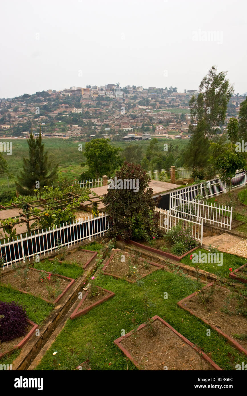 Gardens cover some of the mass graves at the Rwanda Genocide Museum in Kigali bringing a place of remembrance, peace - Stock Image