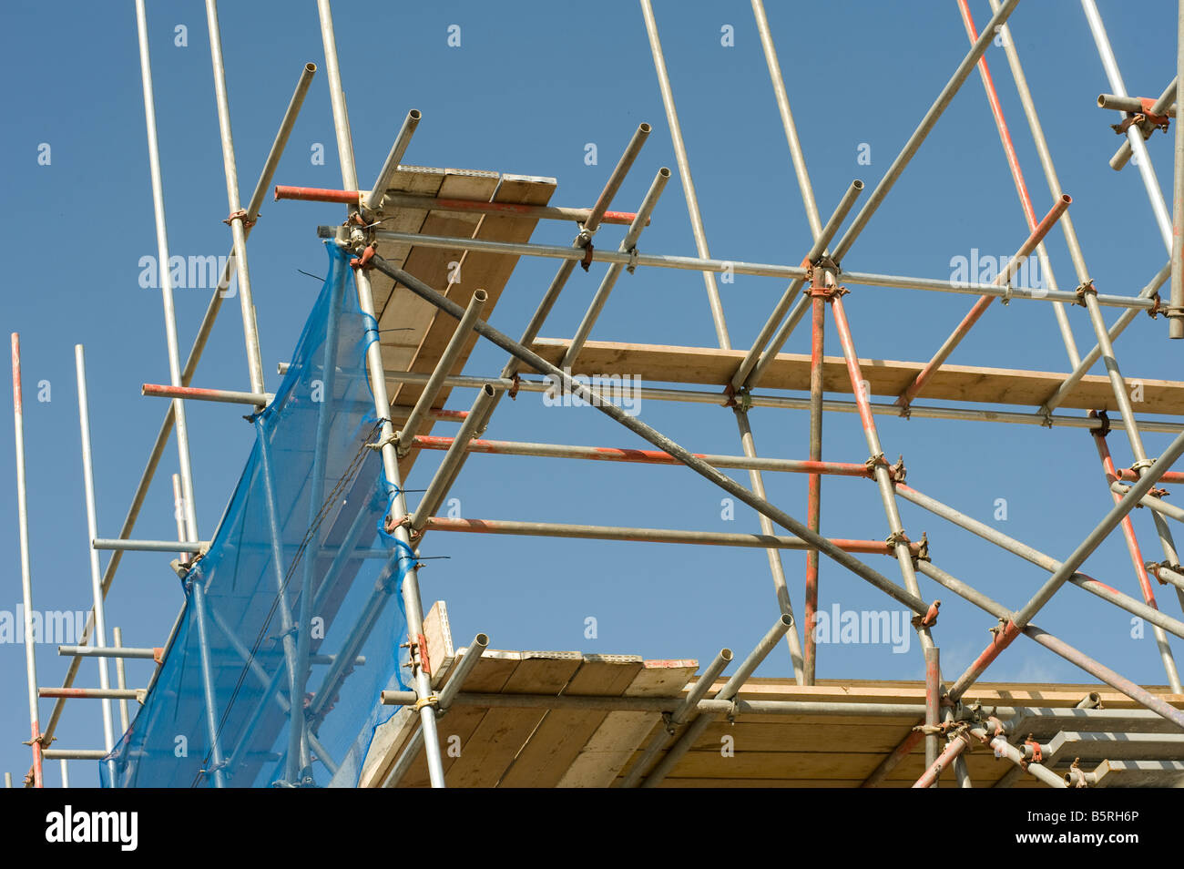 Scaffolding poles on a construction site in the uk - Stock Image
