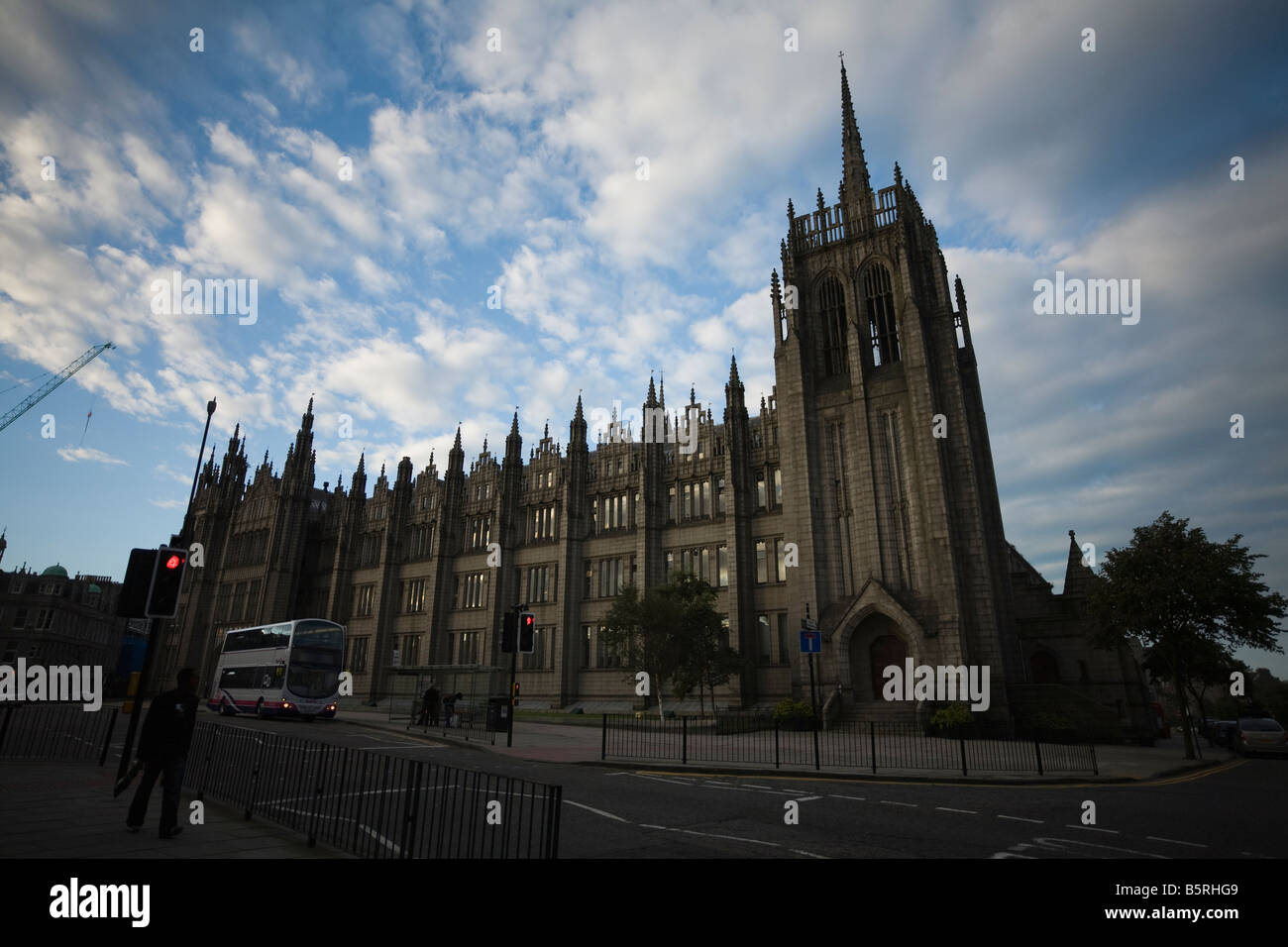 One of the largest granite buildings in the world Aberdeen Marshall s College - Stock Image