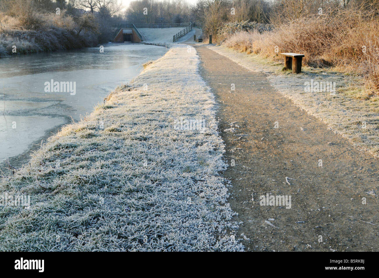 Canal towpath on a frosty morning Chesterfield Derbyshire England UK - Stock Image