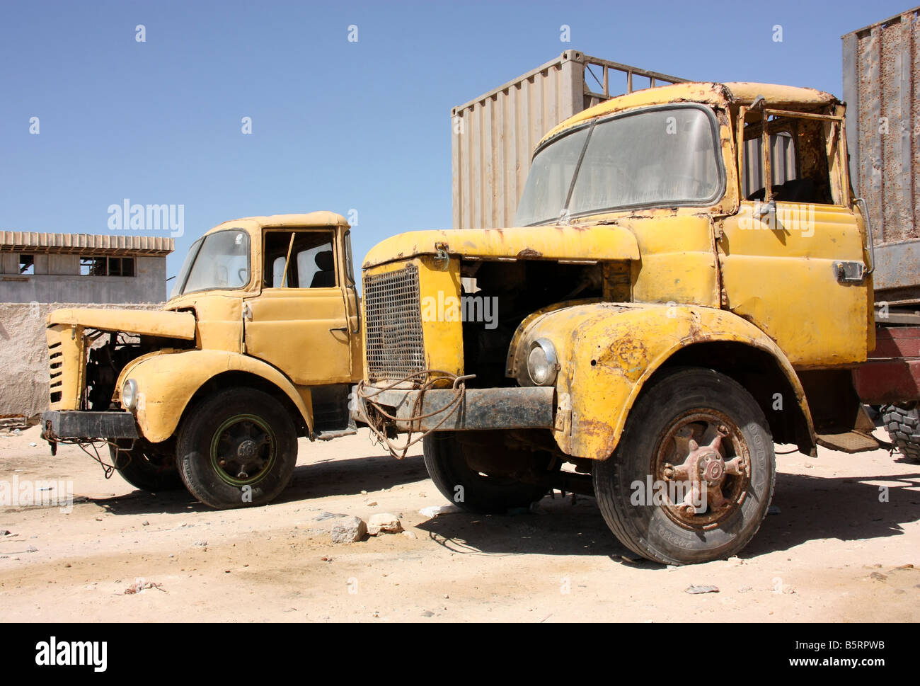 Battered French made trucks in Nouadhibou Mauritania Western Sahara Stock Photo