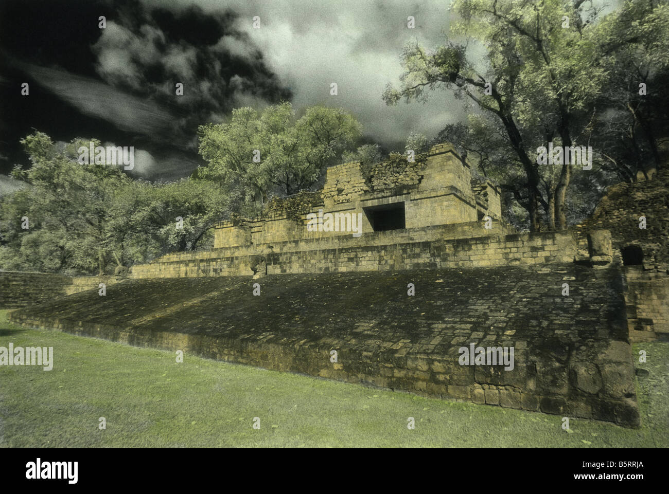 Ballcourt, Copan Maya ruins, Honduras, Hand-tinted Black and White Infrared print - Stock Image