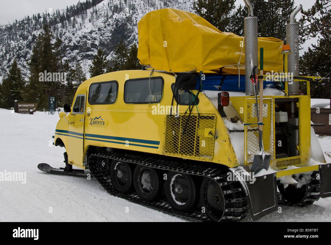 Snowcoach Bombardier Winter Snow Yellowstone Stock Photos