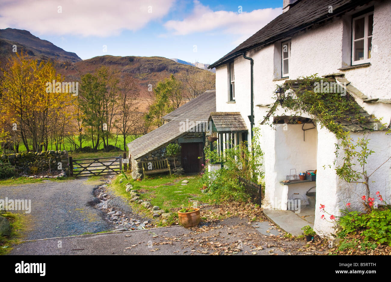 Whitewashed cottage farmhouse in the Lake District National Park, Cumbria, England, UK in the autumn - Stock Image