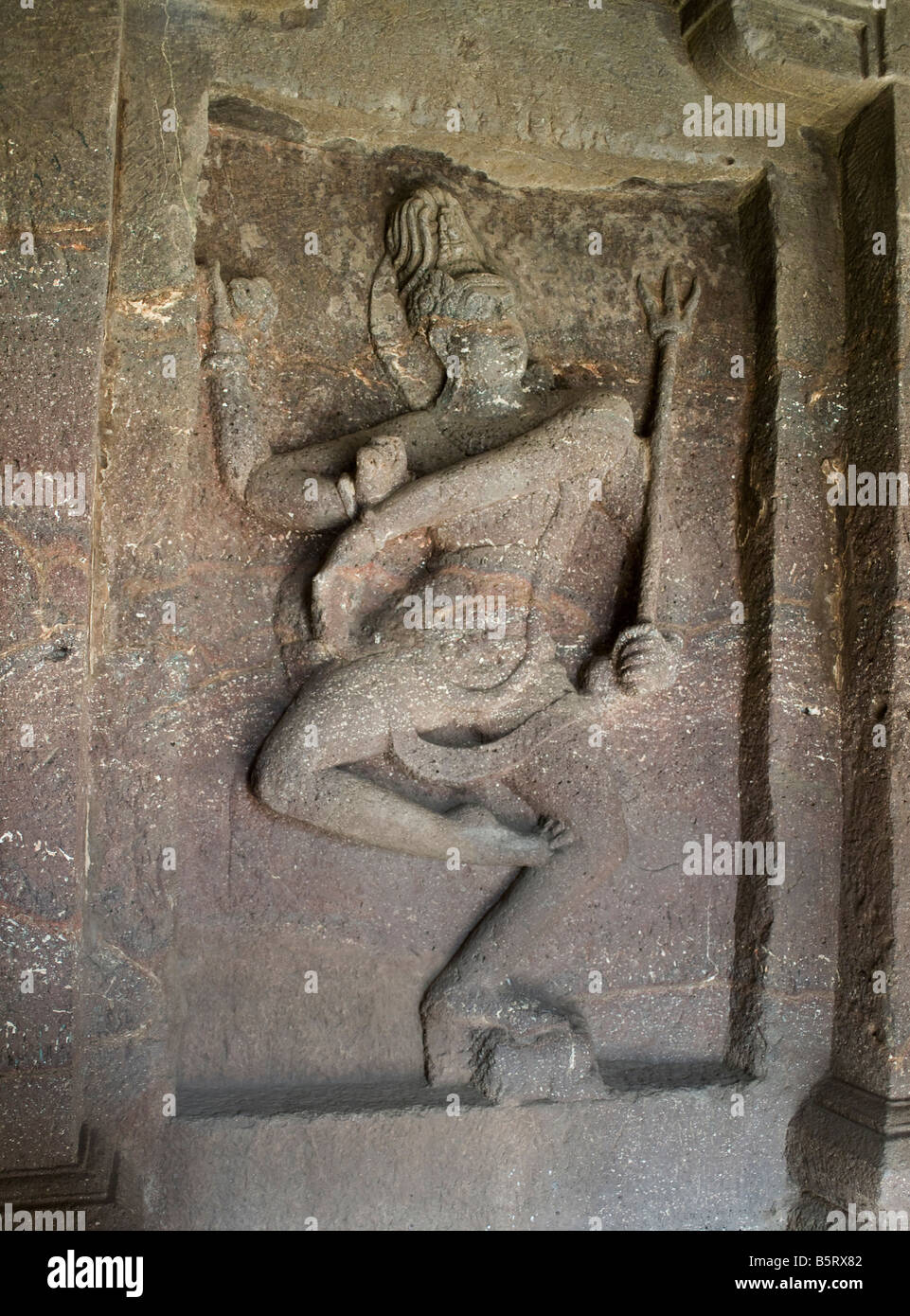 Kailasanatha Temple carved from basalt monolith Ellora Caves India Shiva - Stock Image