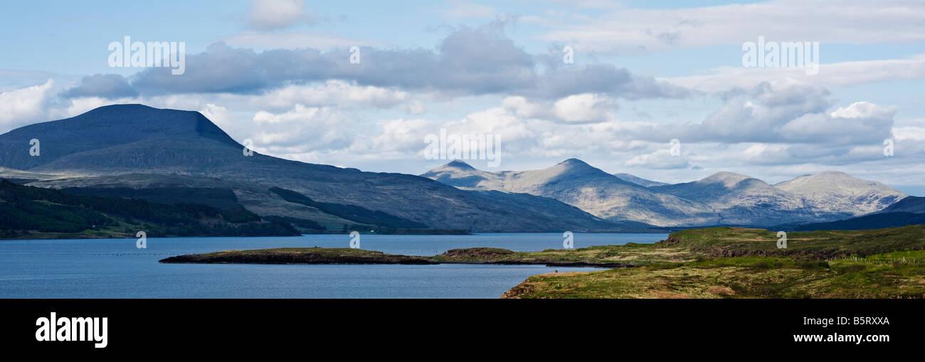 Ben more rises above loch Scridain, Isle of Mull, Scotland - Stock Image