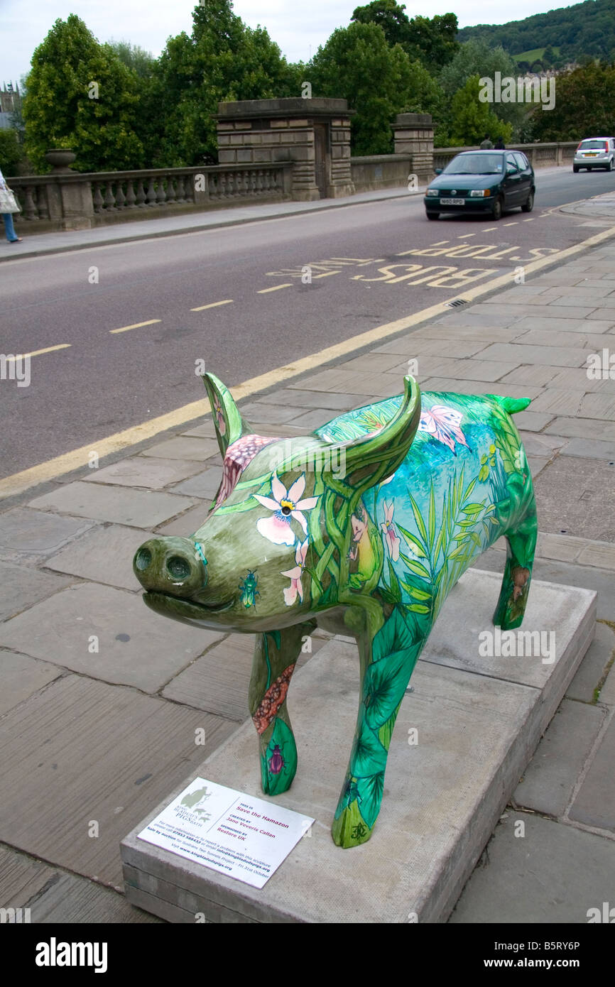 Painted pig sculpture is a part of the public art event King Bladud s Pigs in Bath Somerset England - Stock Image