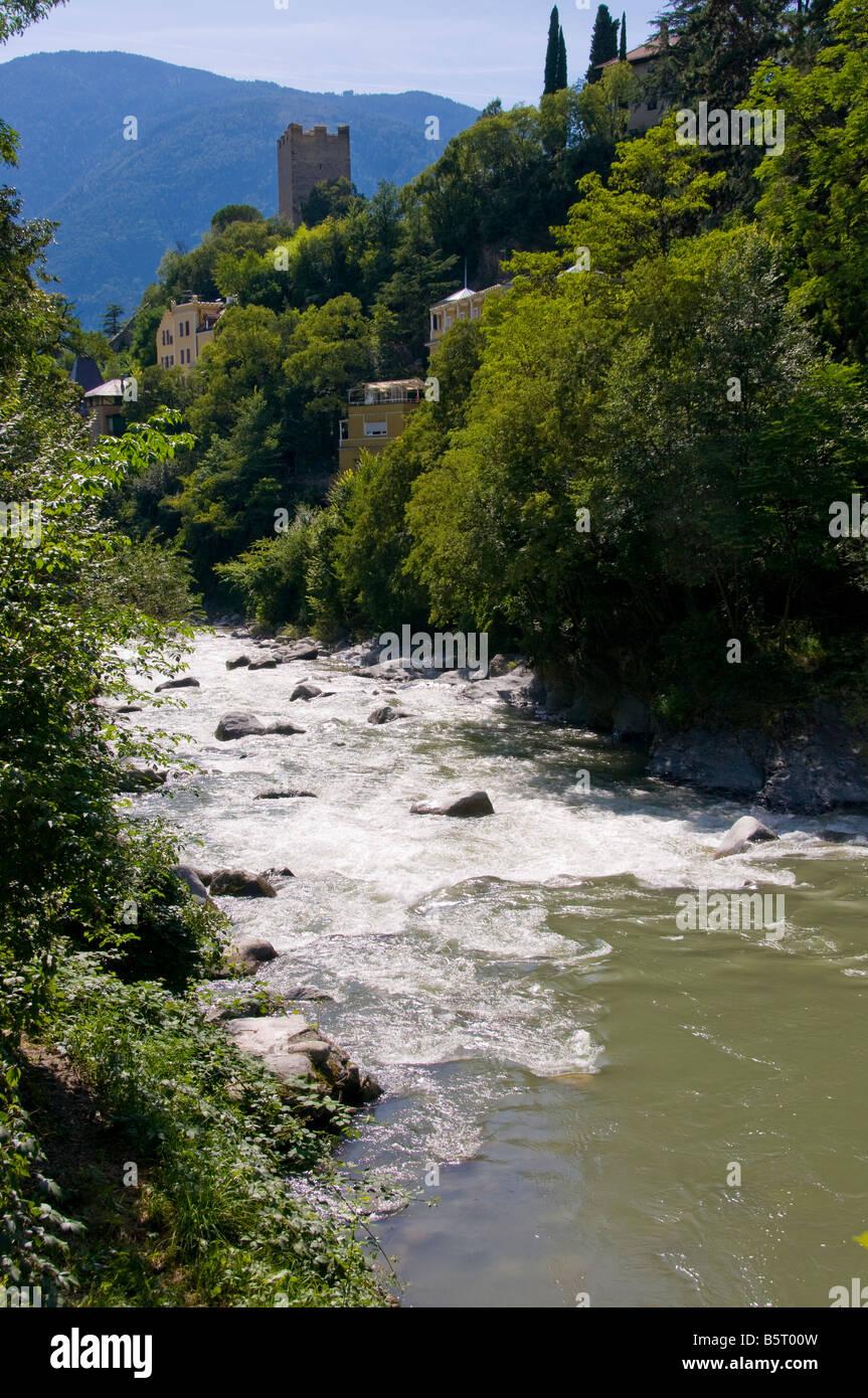 The Passirio river near the town of Merano, South Tyrol, Trentino Alto Adige, Italy. - Stock Image