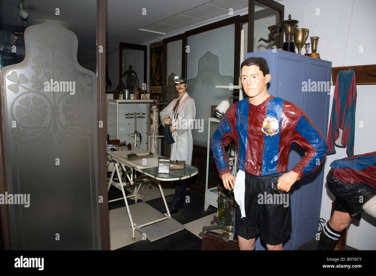 An olden days mock up football treatment room at Nou Camp, Barcelona Catalonia Spain - Stock Image