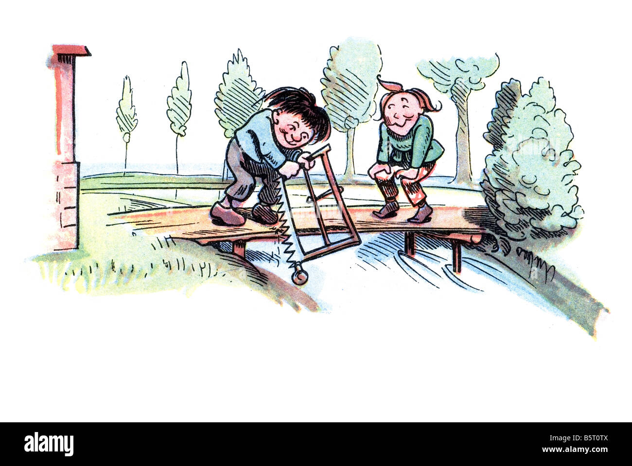 Max & Moritz cutting the bridge, Max and Moritz A Story of Seven Boyish Pranks Heinrich Christian Wilhelm Busch Stock Photo