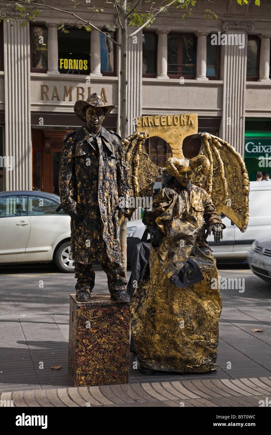 Street entertainers on La Rambla at Barcelona - Stock Image