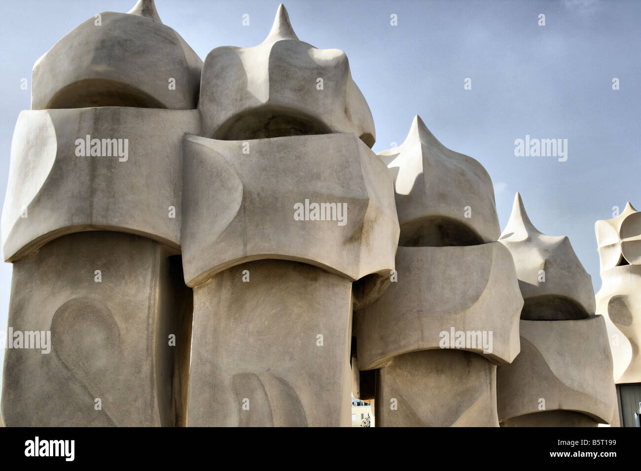 Chimneys of Casa Mila Barcelona, the exterior of this iconic building designed by Antoni Gaudi Stock Photo